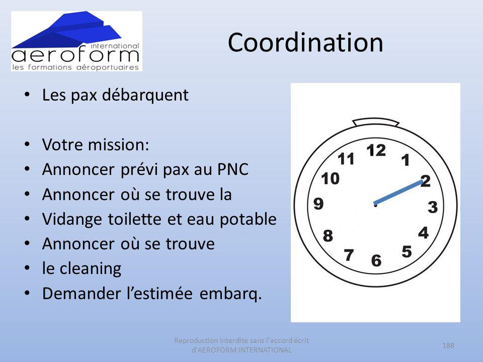 Coordination Les pax débarquent Votre mission: Annoncer prévi pax au PNC Annoncer où se trouve la Vidange toilette et eau potable Annoncer où se trouv