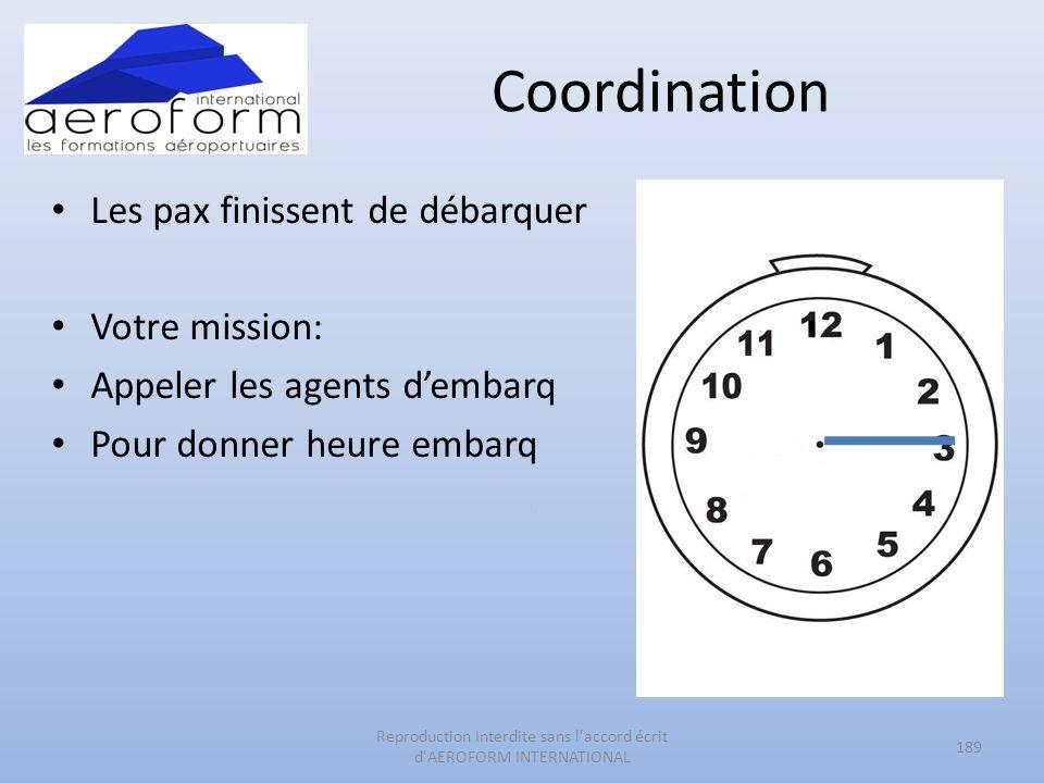 Coordination Les pax finissent de débarquer Votre mission: Appeler les agents dembarq Pour donner heure embarq 189 Reproduction Interdite sans l'accor
