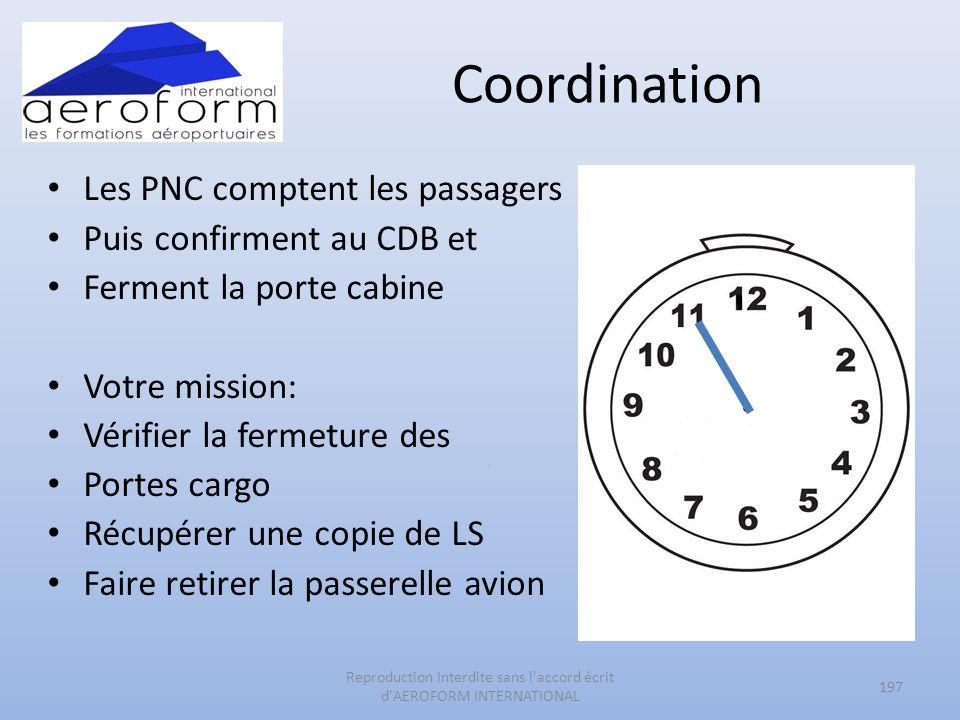 Coordination Les PNC comptent les passagers Puis confirment au CDB et Ferment la porte cabine Votre mission: Vérifier la fermeture des Portes cargo Ré