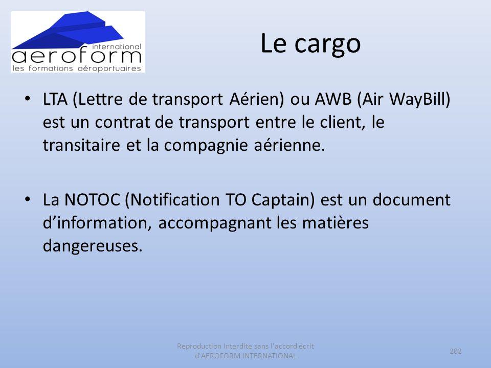 Le cargo LTA (Lettre de transport Aérien) ou AWB (Air WayBill) est un contrat de transport entre le client, le transitaire et la compagnie aérienne. L