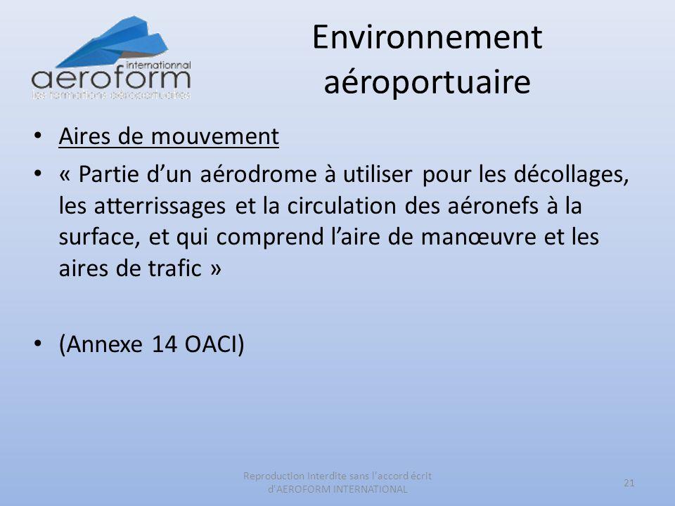 Environnement aéroportuaire Aires de mouvement « Partie dun aérodrome à utiliser pour les décollages, les atterrissages et la circulation des aéronefs