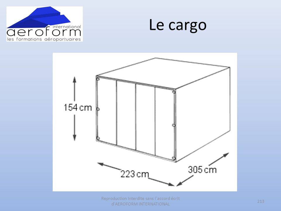 Le cargo 213 Reproduction Interdite sans l accord écrit d AEROFORM INTERNATIONAL