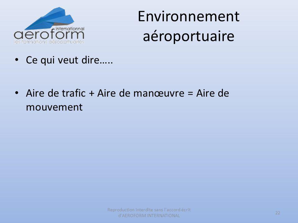 Environnement aéroportuaire Ce qui veut dire….. Aire de trafic + Aire de manœuvre = Aire de mouvement 22 Reproduction Interdite sans l'accord écrit d'