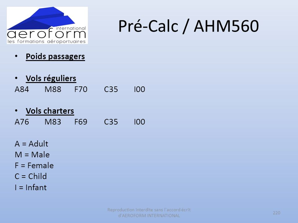 Pré-Calc / AHM560 Poids passagers Vols réguliers A84 M88 F70 C35 I00 Vols charters A76 M83 F69 C35 I00 A = Adult M = Male F = Female C = Child I = Infant 220 Reproduction Interdite sans l accord écrit d AEROFORM INTERNATIONAL