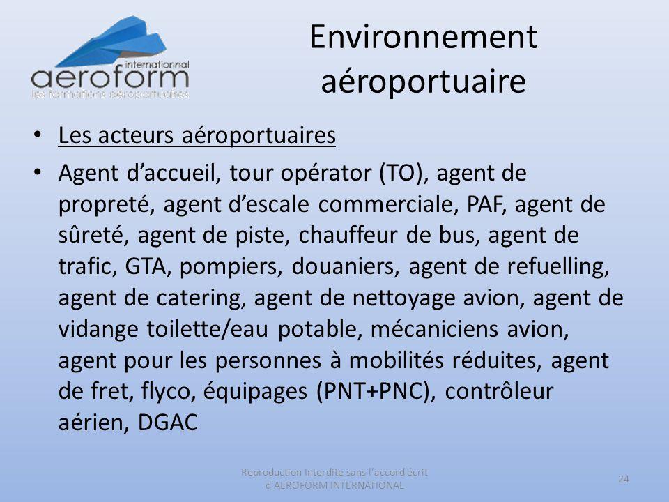 Environnement aéroportuaire Les acteurs aéroportuaires Agent daccueil, tour opérator (TO), agent de propreté, agent descale commerciale, PAF, agent de