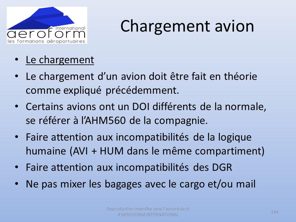Chargement avion Le chargement Le chargement dun avion doit être fait en théorie comme expliqué précédemment. Certains avions ont un DOI différents de