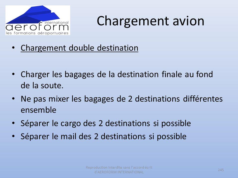 Chargement avion Chargement double destination Charger les bagages de la destination finale au fond de la soute. Ne pas mixer les bagages de 2 destina