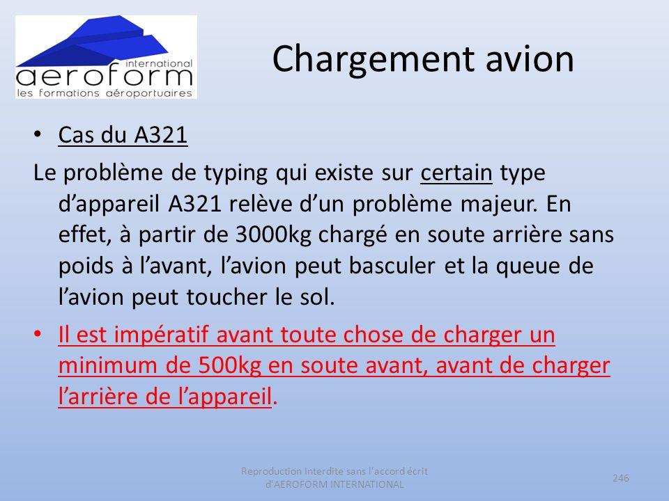 Chargement avion Cas du A321 Le problème de typing qui existe sur certain type dappareil A321 relève dun problème majeur. En effet, à partir de 3000kg