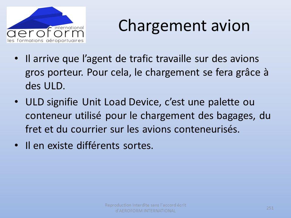 Chargement avion Il arrive que lagent de trafic travaille sur des avions gros porteur. Pour cela, le chargement se fera grâce à des ULD. ULD signifie