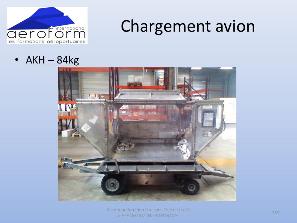 Chargement avion AKH – 84kg 253 Reproduction Interdite sans l accord écrit d AEROFORM INTERNATIONAL