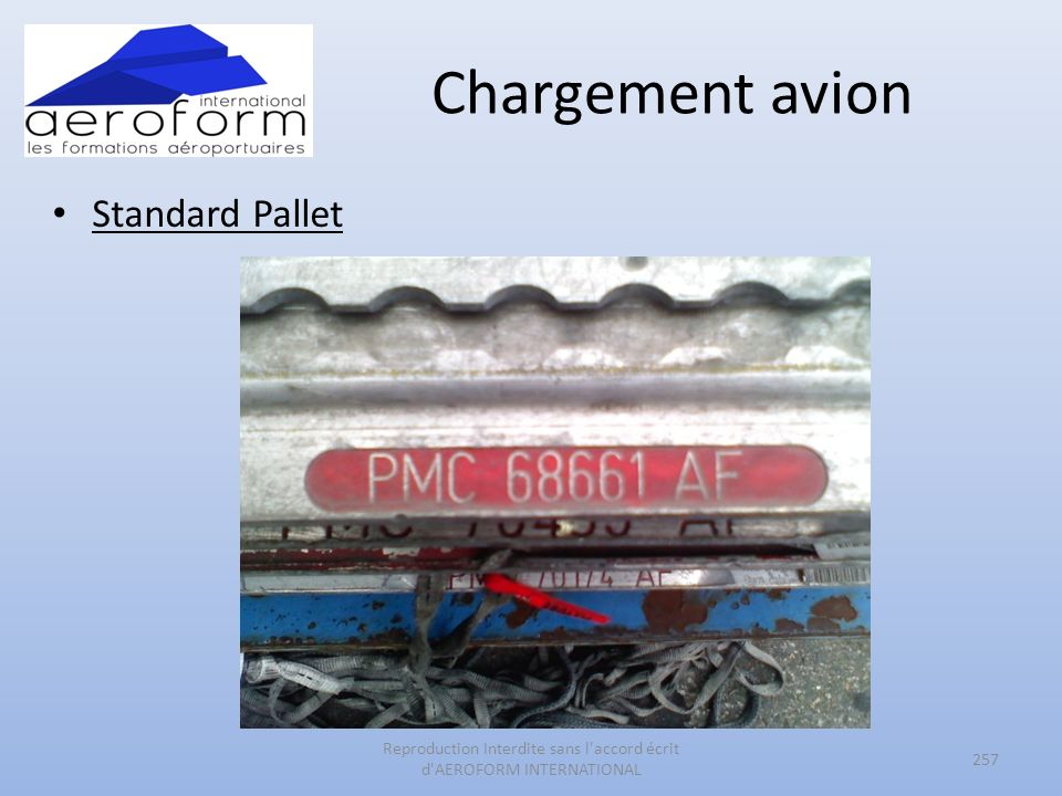 Chargement avion Standard Pallet 257 Reproduction Interdite sans l accord écrit d AEROFORM INTERNATIONAL