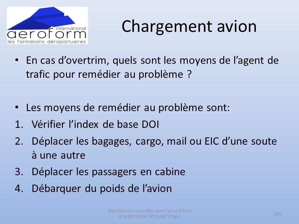 Chargement avion En cas dovertrim, quels sont les moyens de lagent de trafic pour remédier au problème ? Les moyens de remédier au problème sont: 1.Vé