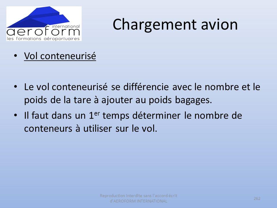 Chargement avion Vol conteneurisé Le vol conteneurisé se différencie avec le nombre et le poids de la tare à ajouter au poids bagages. Il faut dans un