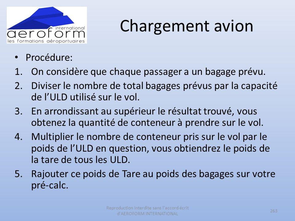 Chargement avion Procédure: 1.On considère que chaque passager a un bagage prévu. 2.Diviser le nombre de total bagages prévus par la capacité de lULD