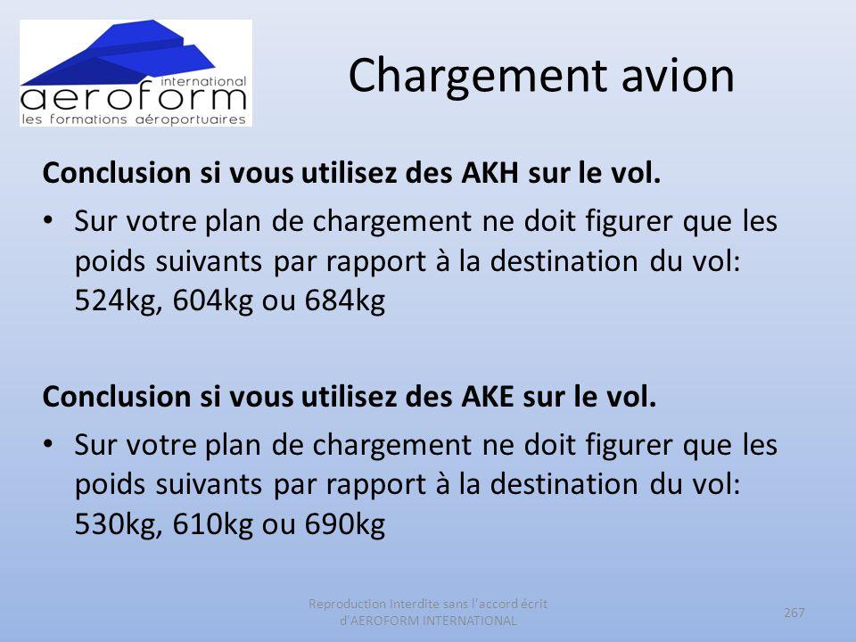Chargement avion Conclusion si vous utilisez des AKH sur le vol. Sur votre plan de chargement ne doit figurer que les poids suivants par rapport à la