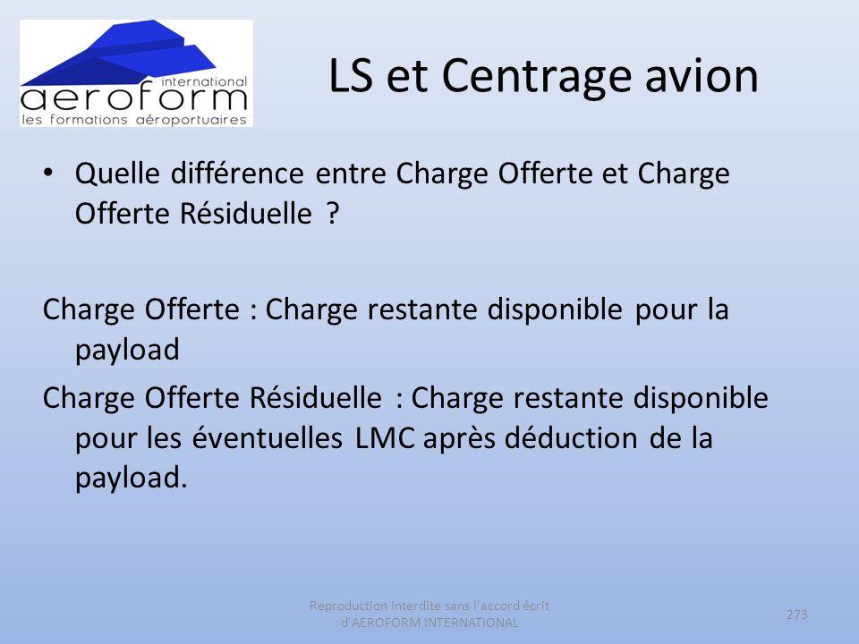 LS et Centrage avion Quelle différence entre Charge Offerte et Charge Offerte Résiduelle ? Charge Offerte : Charge restante disponible pour la payload