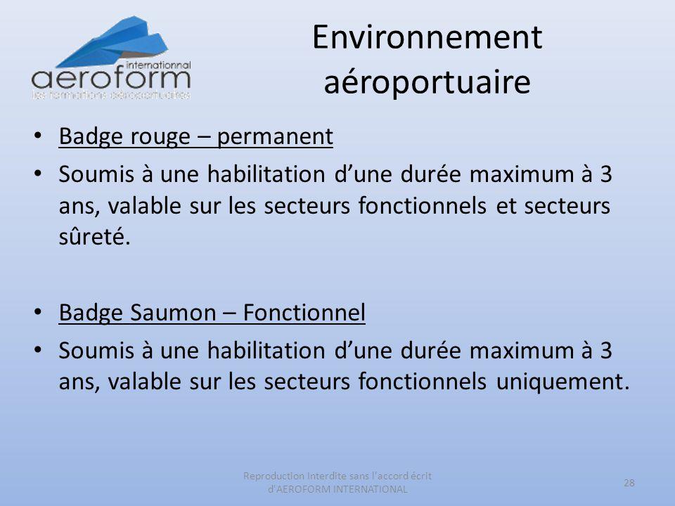 Environnement aéroportuaire Badge rouge – permanent Soumis à une habilitation dune durée maximum à 3 ans, valable sur les secteurs fonctionnels et sec