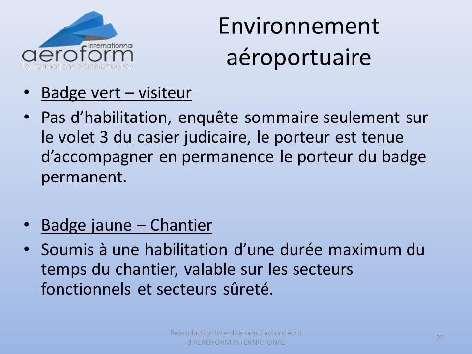 Environnement aéroportuaire Badge vert – visiteur Pas dhabilitation, enquête sommaire seulement sur le volet 3 du casier judicaire, le porteur est ten
