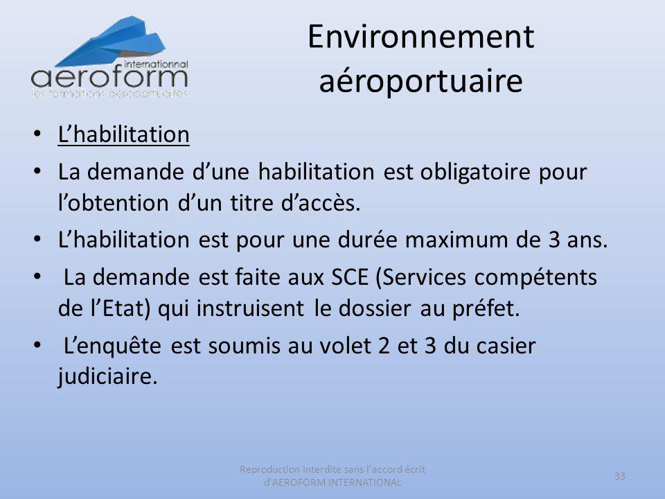 Environnement aéroportuaire Lhabilitation La demande dune habilitation est obligatoire pour lobtention dun titre daccès. Lhabilitation est pour une du