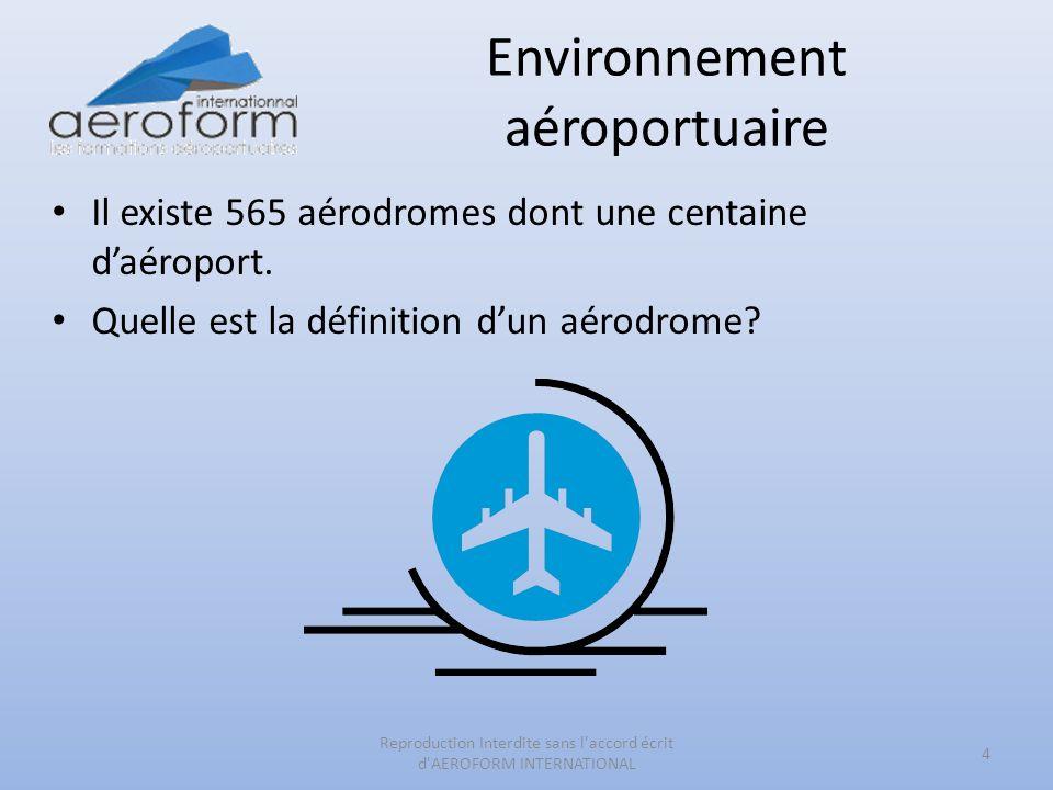 Environnement aéroportuaire Il existe 565 aérodromes dont une centaine daéroport. Quelle est la définition dun aérodrome? 4 Reproduction Interdite san