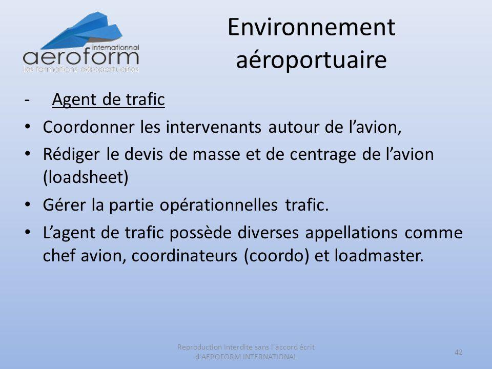 Environnement aéroportuaire -Agent de trafic Coordonner les intervenants autour de lavion, Rédiger le devis de masse et de centrage de lavion (loadshe