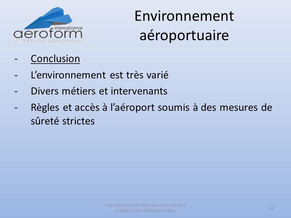 Environnement aéroportuaire -Conclusion -Lenvironnement est très varié -Divers métiers et intervenants -Règles et accès à laéroport soumis à des mesur