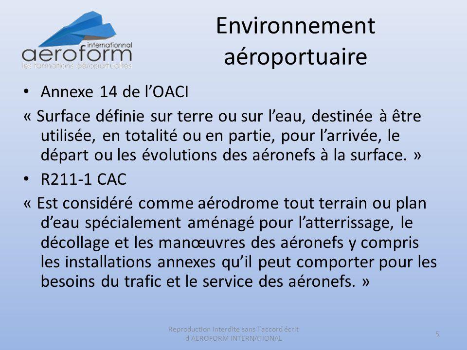 Environnement aéroportuaire Annexe 14 de lOACI « Surface définie sur terre ou sur leau, destinée à être utilisée, en totalité ou en partie, pour larri