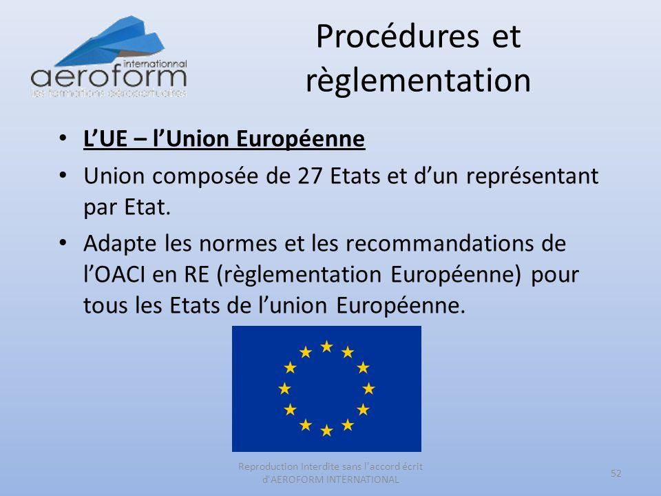 Procédures et règlementation 52 Reproduction Interdite sans l'accord écrit d'AEROFORM INTERNATIONAL LUE – lUnion Européenne Union composée de 27 Etats
