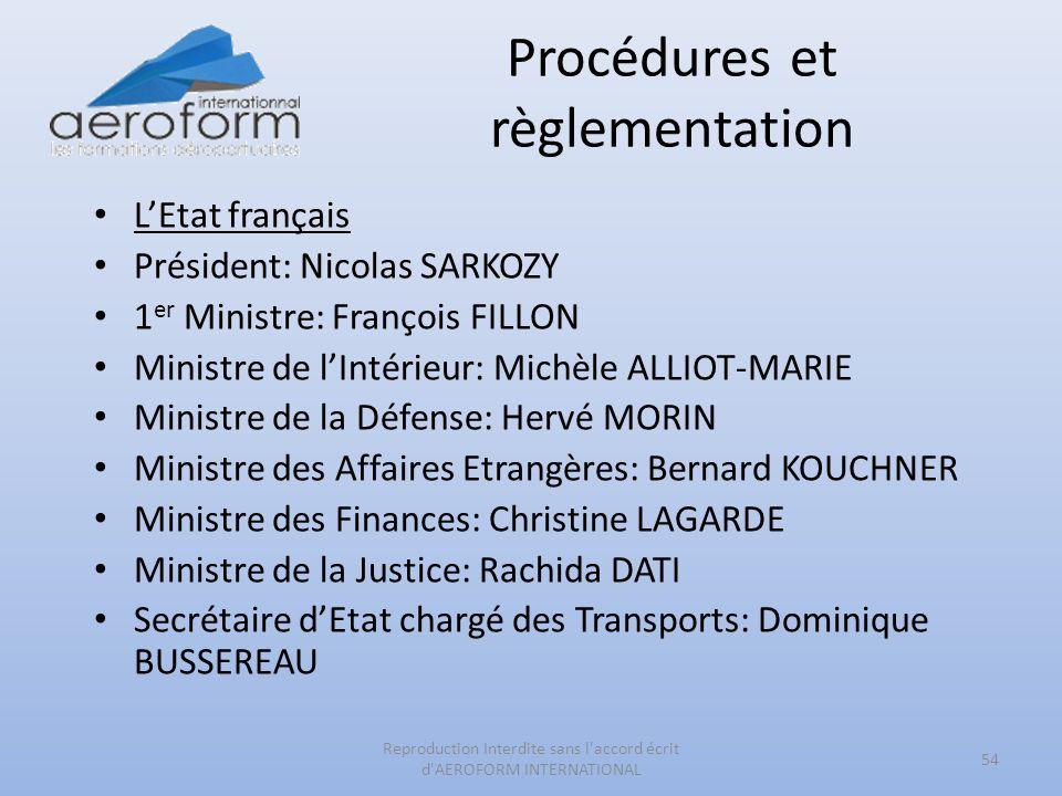 Procédures et règlementation 54 Reproduction Interdite sans l'accord écrit d'AEROFORM INTERNATIONAL LEtat français Président: Nicolas SARKOZY 1 er Min