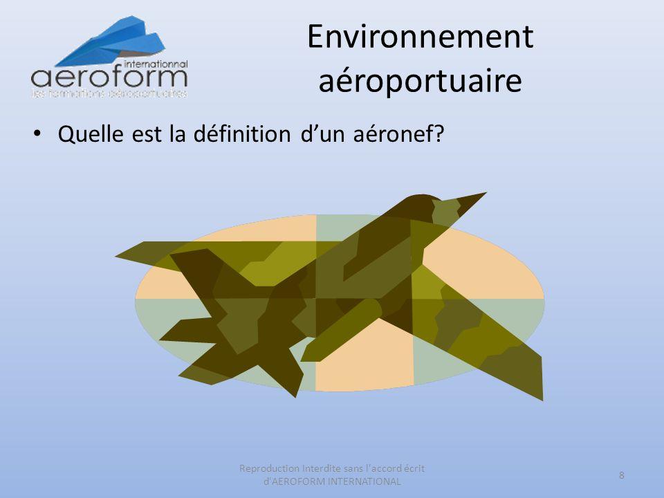 Environnement aéroportuaire Quelle est la définition dun aéronef? 8 Reproduction Interdite sans l'accord écrit d'AEROFORM INTERNATIONAL