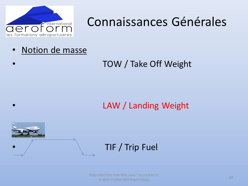 Connaissances Générales Notion de masse TOW / Take Off Weight LAW / Landing Weight TIF / Trip Fuel 98 Reproduction Interdite sans l accord écrit d AEROFORM INTERNATIONAL