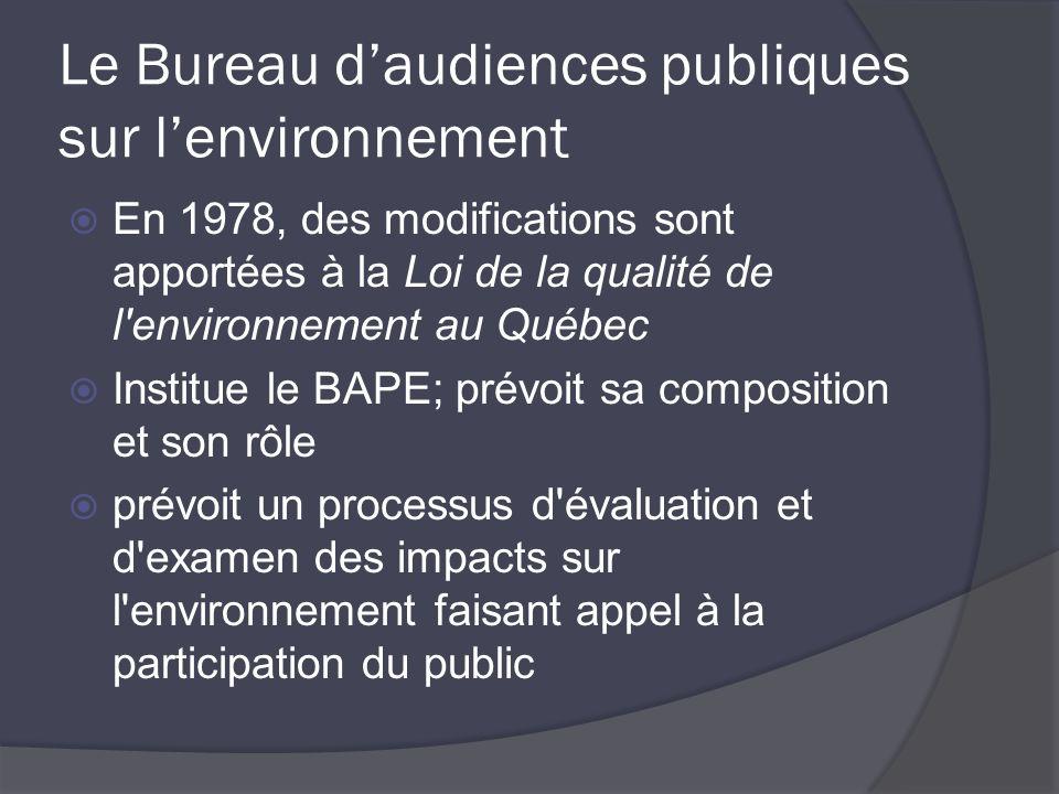 Le Bureau daudiences publiques sur lenvironnement En 1978, des modifications sont apportées à la Loi de la qualité de l environnement au Québec Institue le BAPE; prévoit sa composition et son rôle prévoit un processus d évaluation et d examen des impacts sur l environnement faisant appel à la participation du public