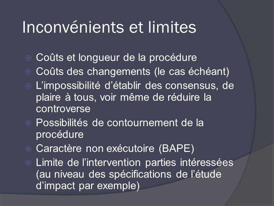 Inconvénients et limites Coûts et longueur de la procédure Coûts des changements (le cas échéant) Limpossibilité détablir des consensus, de plaire à tous, voir même de réduire la controverse Possibilités de contournement de la procédure Caractère non exécutoire (BAPE) Limite de lintervention parties intéressées (au niveau des spécifications de létude dimpact par exemple)