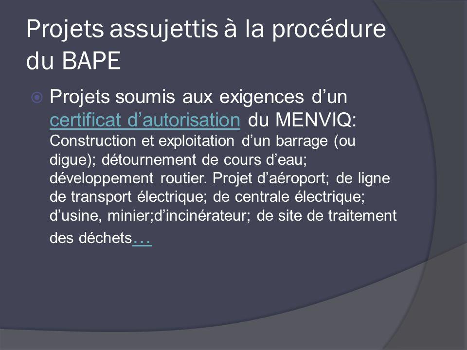 Projets assujettis à la procédure du BAPE Projets soumis aux exigences dun certificat dautorisation du MENVIQ: Construction et exploitation dun barrage (ou digue); détournement de cours deau; développement routier.