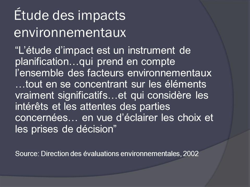 Étude des impacts environnementaux Létude dimpact est un instrument de planification…qui prend en compte lensemble des facteurs environnementaux …tout en se concentrant sur les éléments vraiment significatifs…et qui considère les intérêts et les attentes des parties concernées… en vue déclairer les choix et les prises de décision Source: Direction des évaluations environnementales, 2002