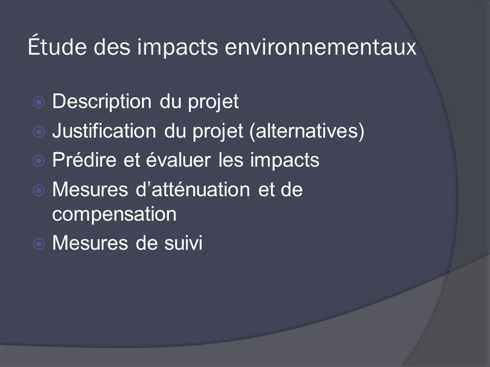 Étude des impacts environnementaux Description du projet Justification du projet (alternatives) Prédire et évaluer les impacts Mesures datténuation et de compensation Mesures de suivi