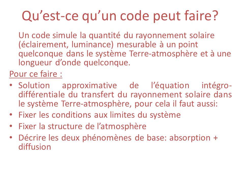 Quest-ce quun code peut faire? Un code simule la quantité du rayonnement solaire (éclairement, luminance) mesurable à un point quelconque dans le syst