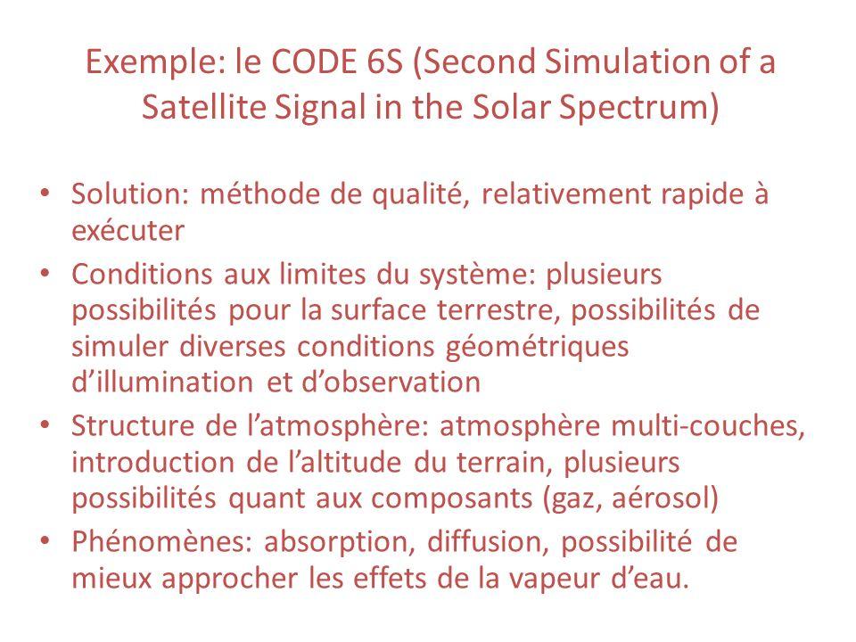 Exemple: le CODE 6S (Second Simulation of a Satellite Signal in the Solar Spectrum) Solution: méthode de qualité, relativement rapide à exécuter Condi
