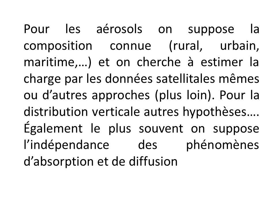 Pour les aérosols on suppose la composition connue (rural, urbain, maritime,…) et on cherche à estimer la charge par les données satellitales mêmes ou