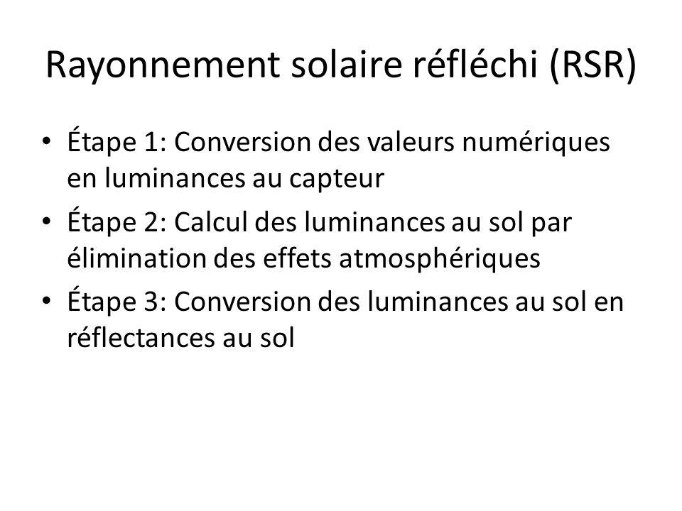 Rayonnement solaire réfléchi (RSR) Étape 1: Conversion des valeurs numériques en luminances au capteur Étape 2: Calcul des luminances au sol par élimi