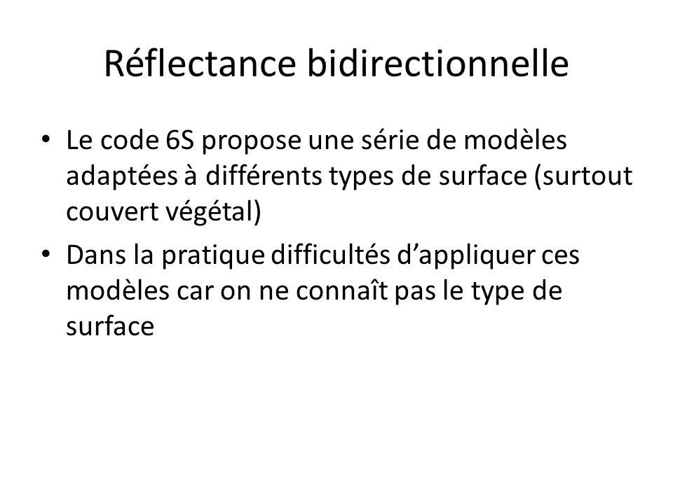 Réflectance bidirectionnelle Le code 6S propose une série de modèles adaptées à différents types de surface (surtout couvert végétal) Dans la pratique