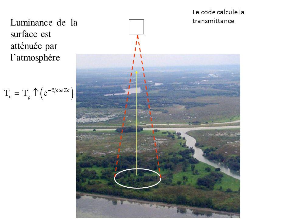 Luminance de la surface est atténuée par latmosphère Le code calcule la transmittance