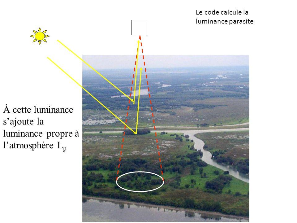 À cette luminance sajoute la luminance propre à latmosphère L p Le code calcule la luminance parasite
