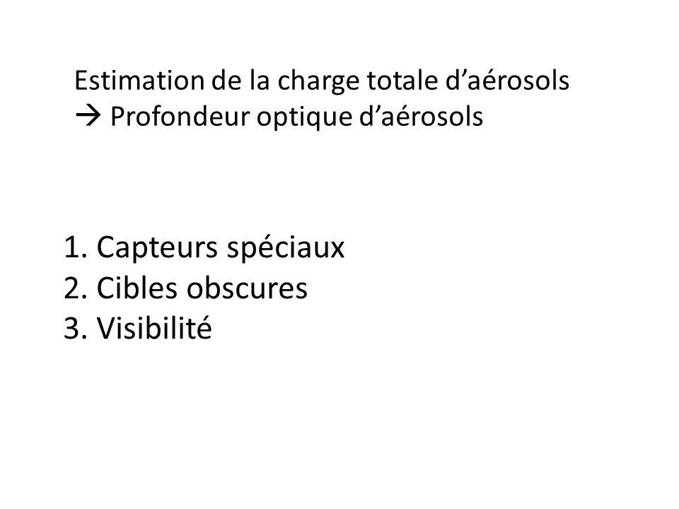 1. Capteurs spéciaux 2. Cibles obscures 3. Visibilité Estimation de la charge totale daérosols Profondeur optique daérosols