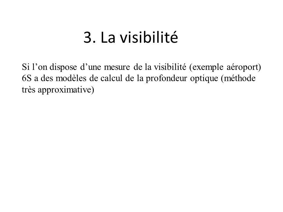 3. La visibilité Si lon dispose dune mesure de la visibilité (exemple aéroport) 6S a des modèles de calcul de la profondeur optique (méthode très appr