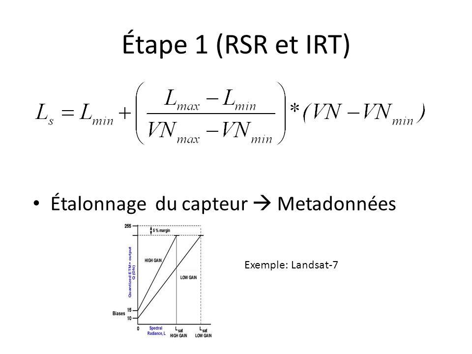 Étape 1 (RSR et IRT) Étalonnage du capteur Metadonnées Exemple: Landsat-7
