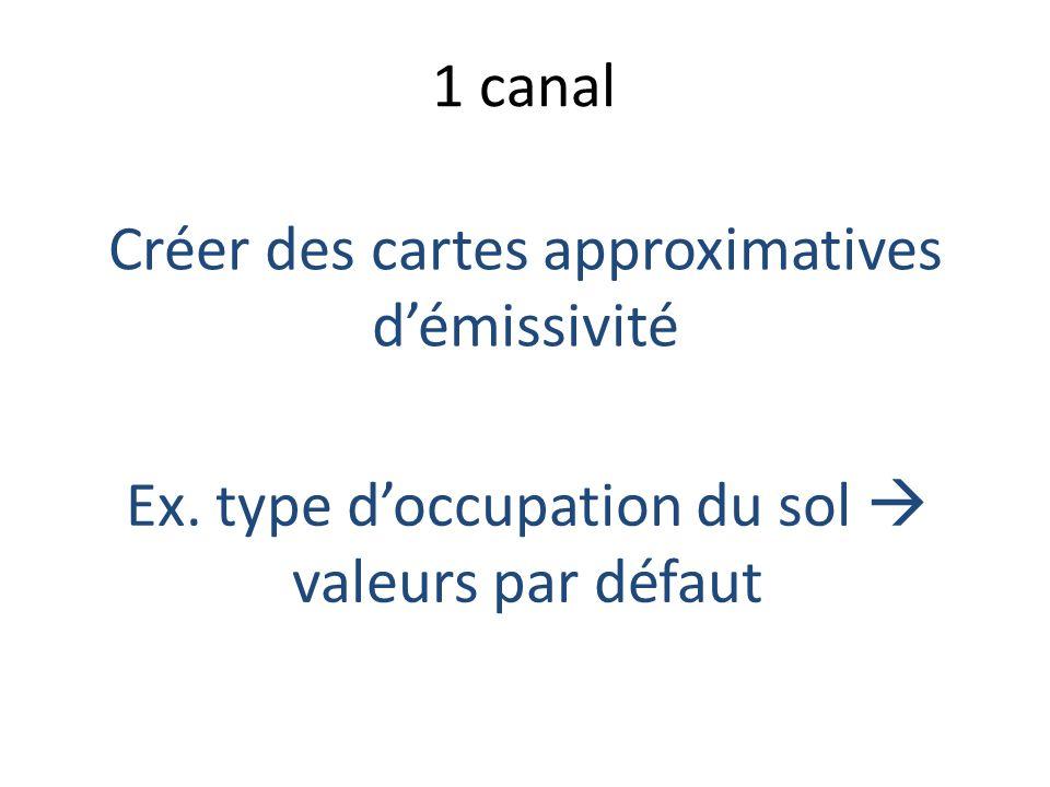 1 canal Créer des cartes approximatives démissivité Ex. type doccupation du sol valeurs par défaut