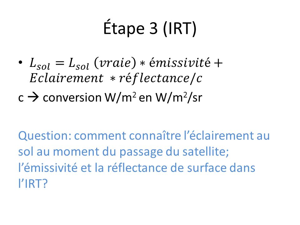 Étape 3 (IRT)