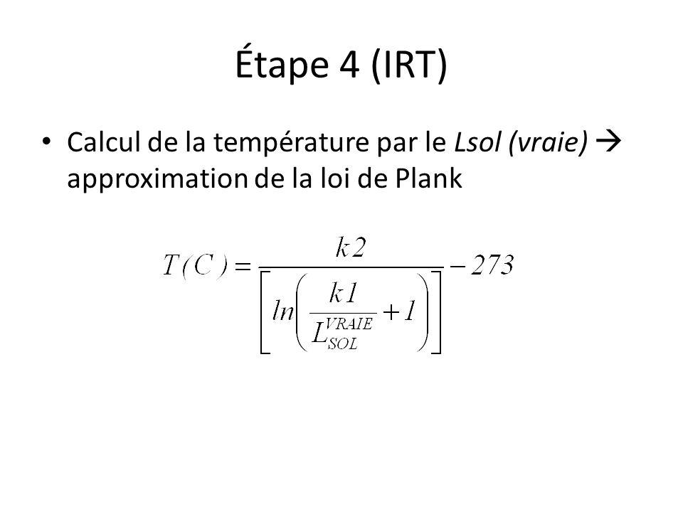 Étape 4 (IRT) Calcul de la température par le Lsol (vraie) approximation de la loi de Plank