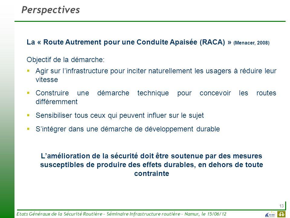 13 Etats Généraux de la Sécurité Routière – Séminaire Infrastructure routière - Namur, le 15/06/12 Perspectives La « Route Autrement pour une Conduite